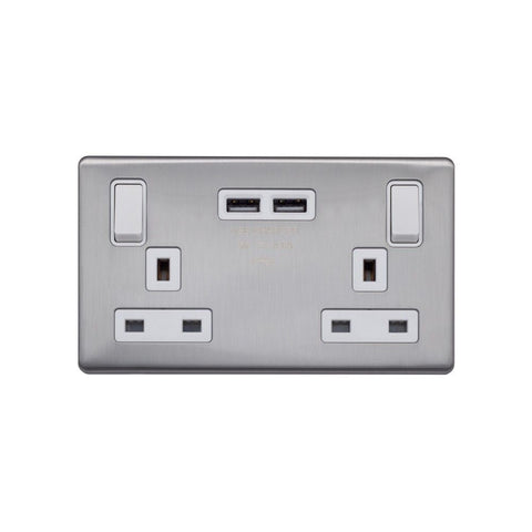 Screwless Raised - Brushed Chrome 13A 2 Gang Switched DP Socket 2 x USB Outlet (4.8A) - White Trim