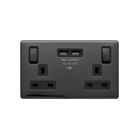 Screwless Raised - Black Nickel 13A 2 Gang Switched DP Socket 2xUSB Outlet (4.8A) - Black Trim