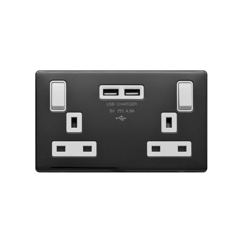 Screwless Raised - Black Nickel 13A 2 Gang Switched DP Socket 2 x USB Outlet (4.8A) - White Trim