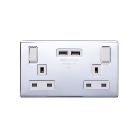 Screwless Raised - Polished Chrome 13A 2 Gang Switched DP Socket 2 x USB Outlet (4.8A) - White Trim