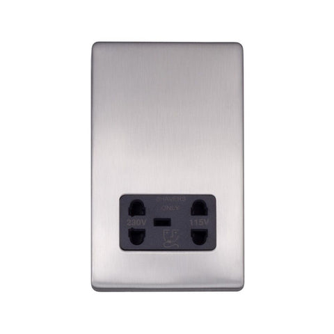 Screwless Raised - Brushed Chrome Shaver Socket 230/115V Plate - Black Trim