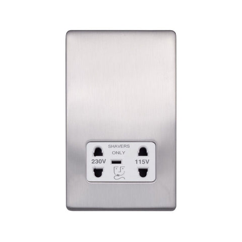 Screwless Raised - Brushed Chrome Shaver Socket 230/115V Plate - White Trim
