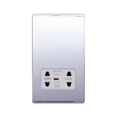 Screwless Raised - Polished Chrome Shaver Socket 230/115V Plate - White Trim