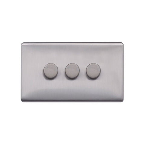 Screwless Raised - Brushed Chrome 250W 3 Gang 2 Way Intelligent Trailing Dimmer Switch - Black Trim