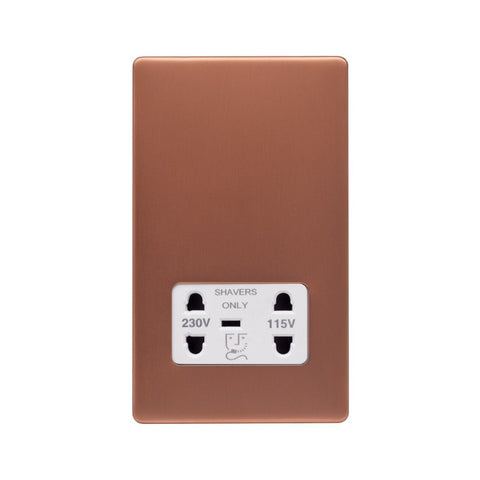 Screwless Raised - Brushed Copper Shaver Socket 230/115V Plate - White Trim