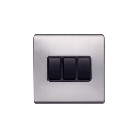 Screwless Raised - Brushed Chrome 10A 3 Gang 2 Way Light Switch - Black Trim