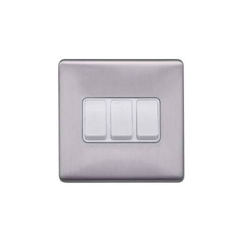 Screwless Raised - Brushed Chrome 10A 3 Gang 2 Way Light Switch - White Trim