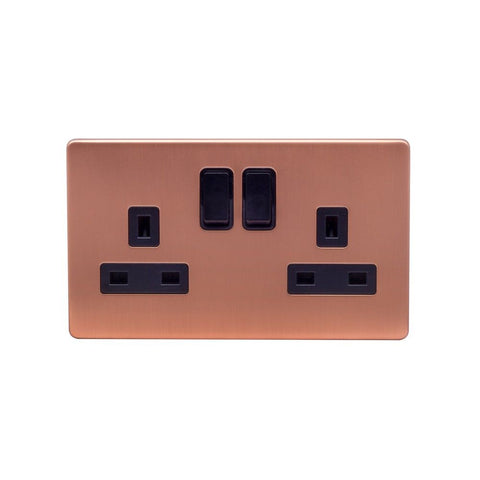Screwless Raised - Brushed Copper 13A 2 Gang Switched Plug Socket, Double Pole - Black Trim