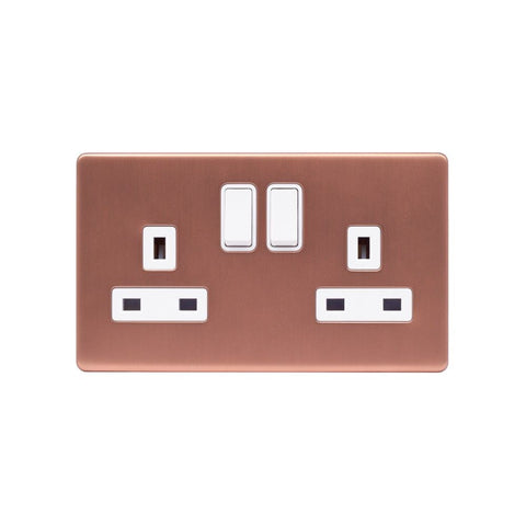 Screwless Raised - Brushed Copper 13A 2 Gang Switched Plug Socket, Double Pole - White Trim