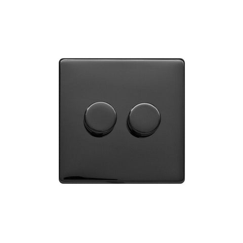 Screwless Raised - Black Nickel 250W 2 Gang 2 Way Intelligent Trailing Dimmer Switch - White Trim