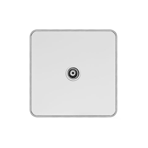 Screwless Fusion White Metal Plate with Chrome Edge 1 Gang TV Socket White Trim