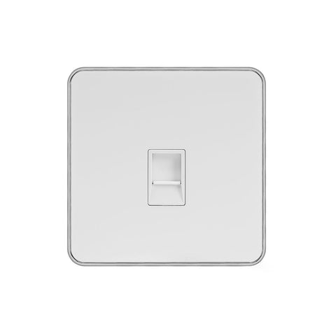 Screwless Fusion White Metal Plate with Chrome Edge 1 Gang Data Socket RJ45 Cat5/Cat6 White Trim