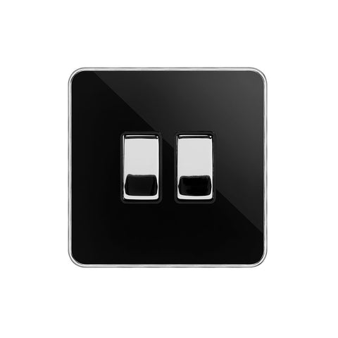 Screwless Fusion Black Nickel & Polished Chrome With Chrome Edge 10A 2 Gang Intermediate Light Switch Black Trim