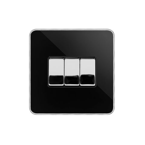Screwless Fusion Black Nickel & Polished Chrome With Chrome Edge 10A 3 Gang Intermediate Light Switch Black Trim