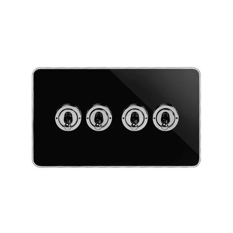 Screwless Fusion Black Nickel & Polished Chrome With Chrome Edge 20A 4 Gang Intermediate Toggle Light Switch Black Trim