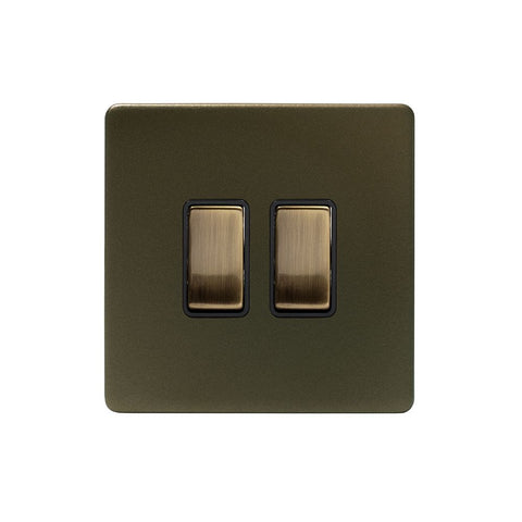 Screwless Bronze 10A 2 Gang 2 Way Light Switch