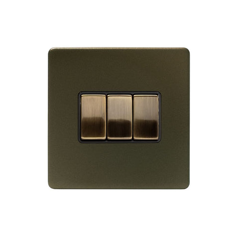 Screwless Bronze 10A 3 Gang 2 Way Light Switch