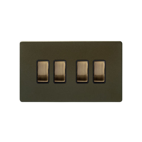 Screwless Bronze 10A 4 Gang 2 Way Light Switch