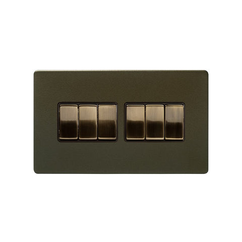 Screwless Bronze 10A 6 Gang 2 Way Light Switch
