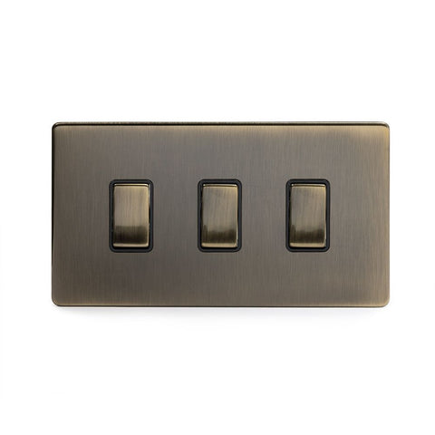Screwless Antique Brass 3 Gang Light Switch Double Plate