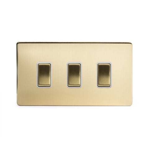 Screwless Brushed Brass 3 Gang Light Switch Double Plate