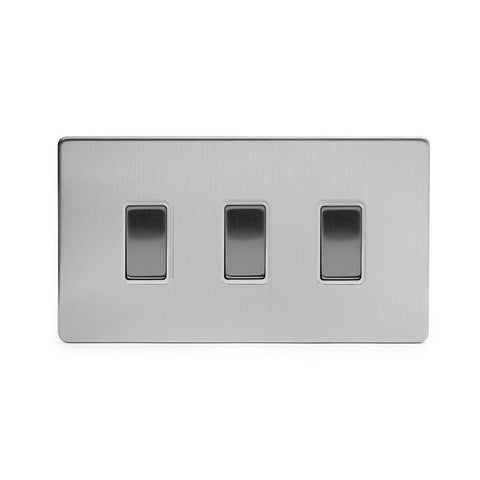 Screwless Brushed Chrome 3 Gang Light Switch Double Plate - White