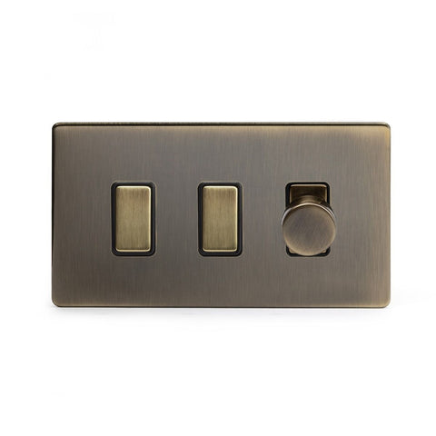Screwless Antique Brass 3 Gang Light Switch with 1 dimmer (2x 2 Way Switch & 400w Trailing Dimmer)
