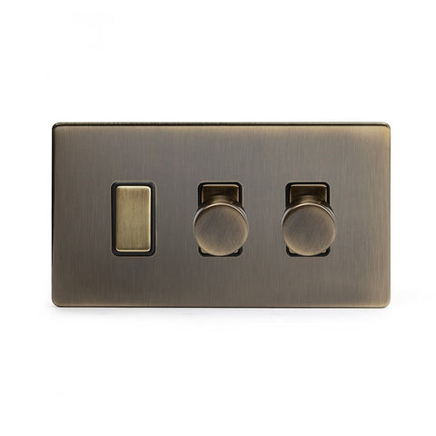 Screwless Antique Brass 3 Gang Light Switch with 2 Dimmers (2 Way Switch & 2x Trailing Dimmer)