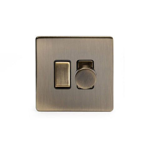 Screwless Antique Brass Dimmer and Rocker Switch Combo   (2 Way Switch & 400w Trailing Dimmer)