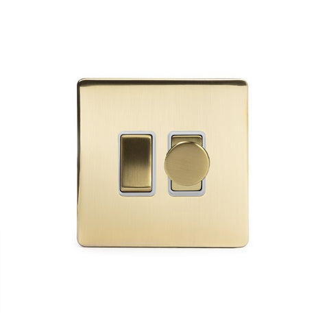 Screwless Brushed Brass Dimmer and Light Switch Combo   (2 Way Switch - 400w Trailing Dimmer)