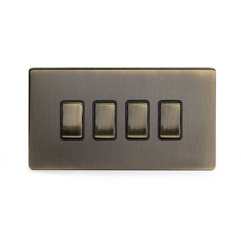 Screwless Antique Brass 4 Gang Light Switch With 1 Intermediate (3 x 2 Way Swich with 1 Intermediate)