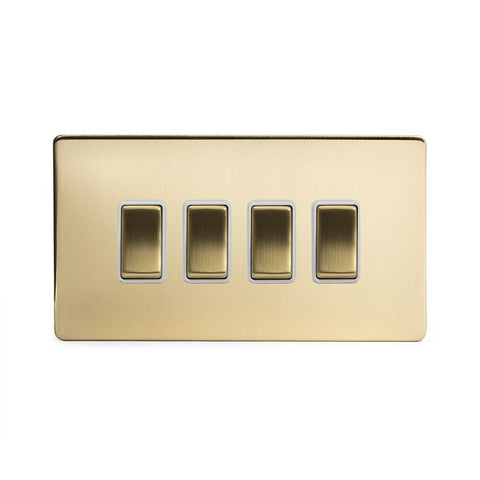Screwless Brushed Brass 4 Gang Light Switch With 1 Intermediate (3 x 2 Way Swich with 1 Intermediate)