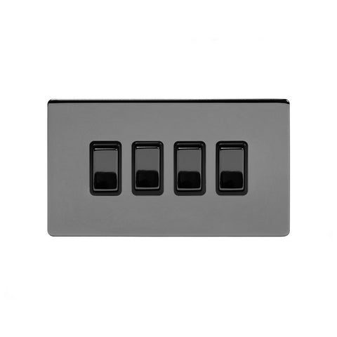 Screwless Black Nickel 4 Gang Light Switch With 1 Intermediate (3 x 2 Way Swich with 1 Intermediate)
