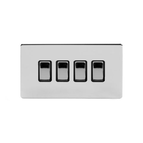 Screwless Polished Chrome 4 Gang Light Switch With 1 Intermediate (3 x 2 Way Switch with 1 Intermediate) - Black