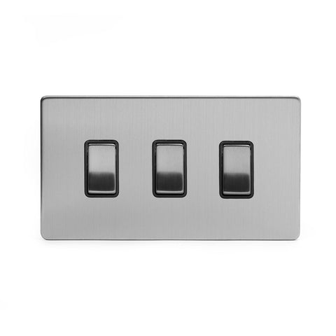 Screwless Brushed Chrome 3 Gang Light Switch With 1 Intermediate (2 x 2 Way Swich with 1 Intermediate)