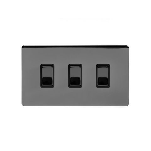 Screwless Black Nickel 3 Gang Light Switch With 1 Intermediate (2 x 2 Way Swich with 1 Intermediate)