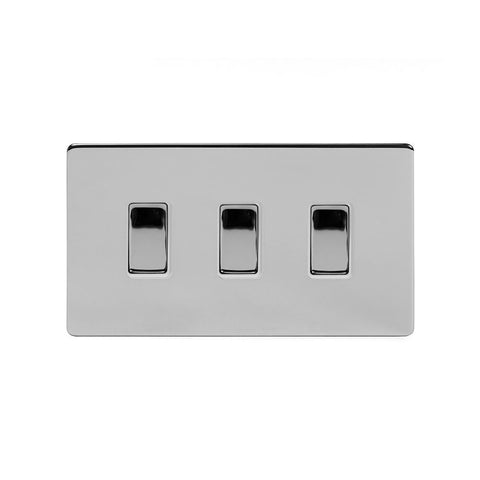 Screwless Polished Chrome 3 Gang Light Switch With 1 Intermediate (2 x 2 Way Swich with 1 Intermediate)