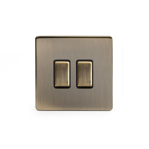 Screwless Antique Brass 2 Gang Intermediate & 2 Way Light Switch