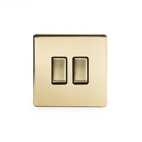 Screwless Brushed Brass 2 Gang Intermediate & 2 Way Light Switch