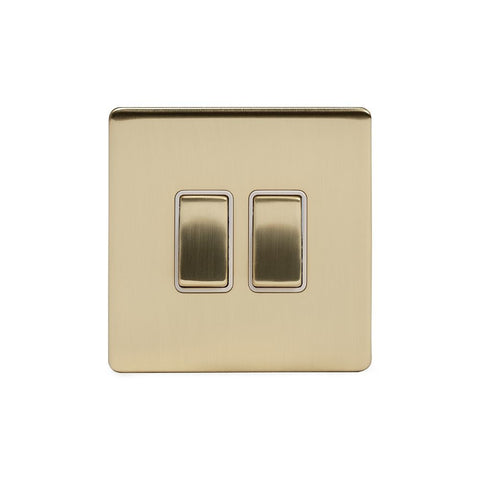 Screwless Brushed Brass 2 Gang Light Switch With 1 Intermediate (1 x 2 Way Swich with 1 x Intermediate)