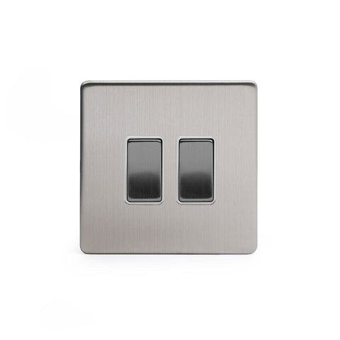 Screwless Brushed Chrome 2 Gang Intermediate & 2 Way Light Switch
