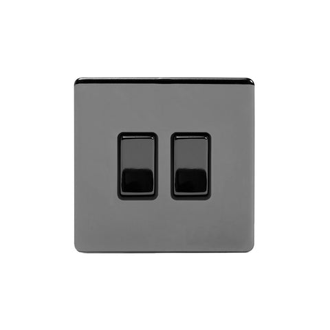 Screwless Black Nickel 2 Gang Intermediate & 2 Way Light Switch