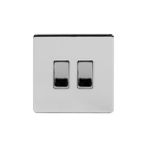 Screwless Polished Chrome 2 Gang Intermediate & 2 Way Light Switch