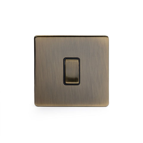 Screwless Antique Brass 1 Gang Retractive Light Switch