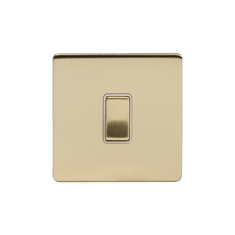 Screwless Brushed Brass 1 Gang Retractive Light Switch