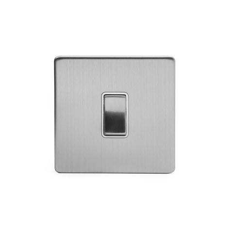 Screwless Brushed Chrome 1 Gang Retractive Light Switch