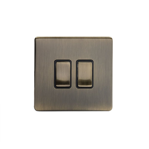 Screwless Antique Brass 2 Gang Retractive Light Switch