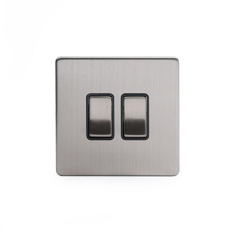 Screwless Brushed Chrome 2 Gang Retractive Light Switch