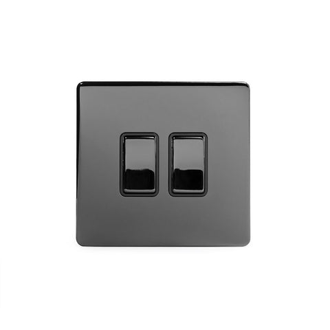 Screwless Black Nickel 2 Gang Retractive Light Switch