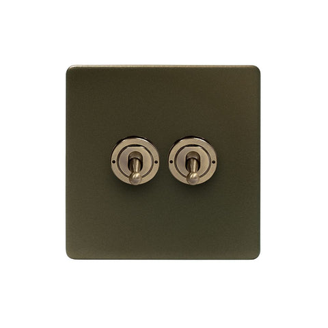 Screwless Bronze 20A 2 Gang 2 Way Toggle Light Switch